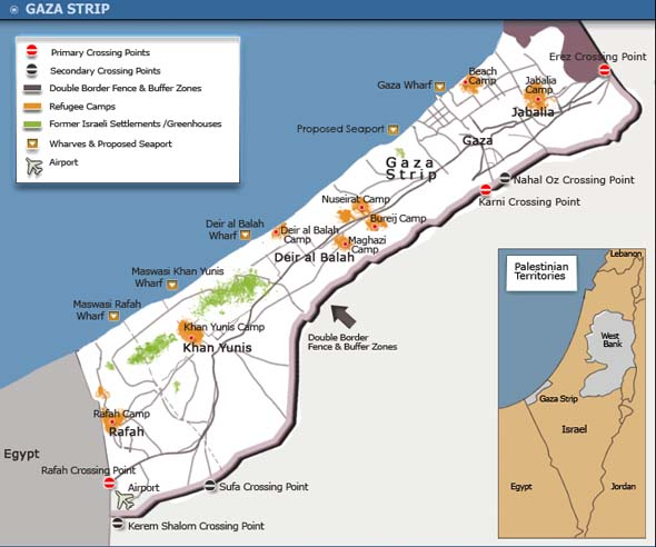 Map of occupied Palestine