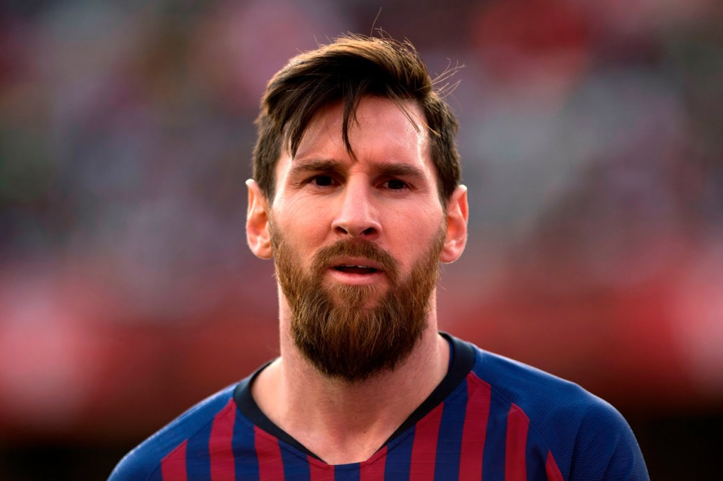 Messi is seen here during a game in February 2019