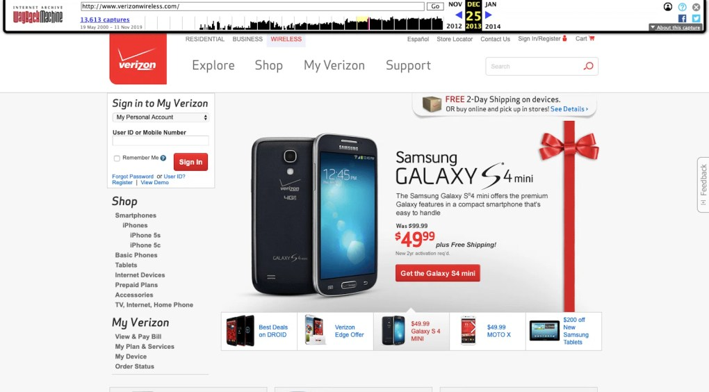 Verizon Wireless 2013 - Slider - Outdated Web Design Trend