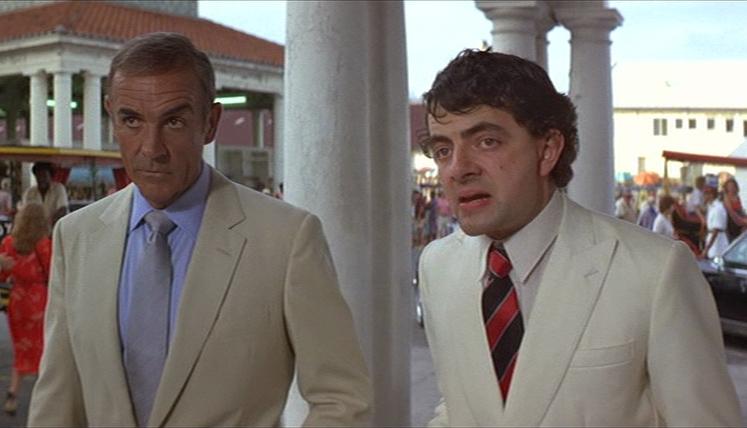 James Bond: Sean Connery    Nigel Small-Fawcett: Rowan Atkinson