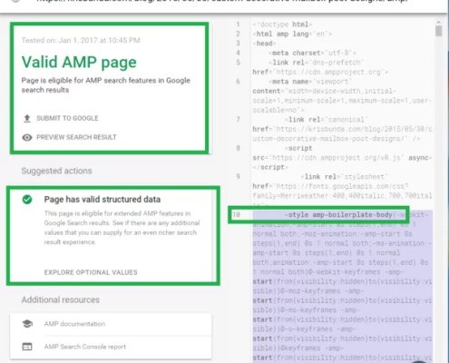 GOOGLE SEARCH CONSOLE AMP Page now with Valid Structured Data