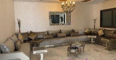 صالونات مغربية عصرية باللون الرمادي