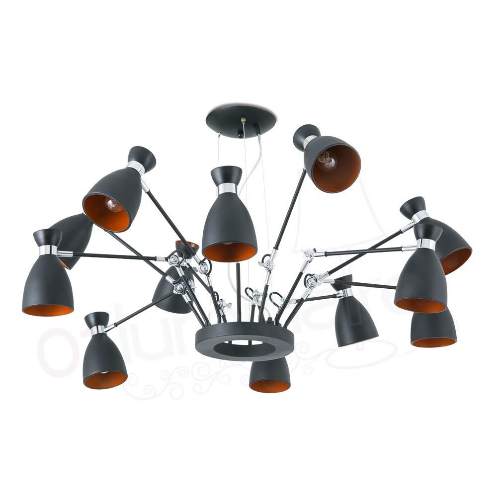 Suspension Rtro Noir Or 12 Lampes 20048 Faro