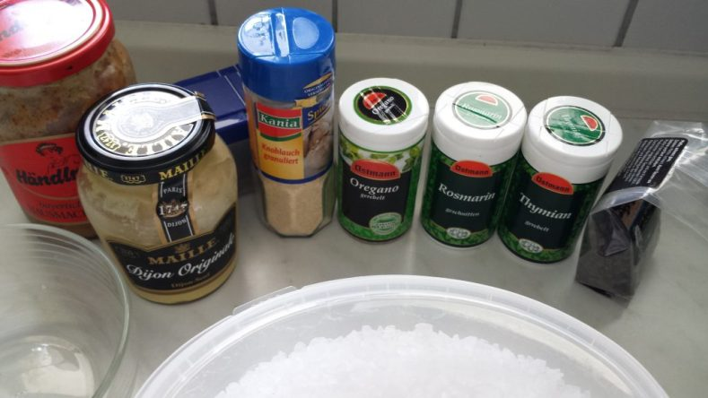 Zutaten für Rub und Senf-Kruste
