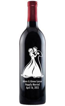 Etched Wine Bottles Wedding