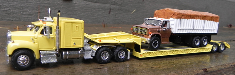 Mack B61 Amp Lowboy Trailer With Chevrolet C 65 Grain Truck