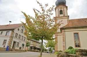 Auch Zeugen einer Epoche in einer langen Geschichte: Kirche und Rathaus in Allmannsweier. Foto: Sandra Decoux-Kone