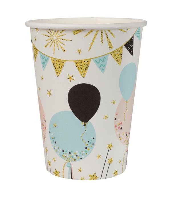 10 gobelets en carton paillettes pastel et or