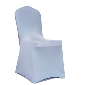 Meijuner 100PCS Lycra Premium brillant housse de chaise, Décor Couverture de chaise ,de moderne Stretch Décoration Housse de chaise avec en élasthanne, élastique, haute résilience, pour fête de mariage, fête de noel, réunion, conférence, accueil, salle à manger(argent)