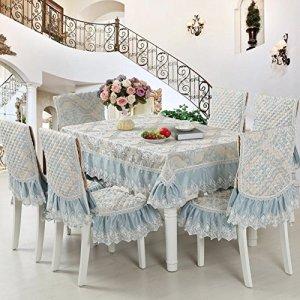 Nappe Avec La Dentelle,Housse De Table,Costumes De Nappe Style Européen,Housses De Chaises Coussins Ensemble-D diamètre230cm(91inch)