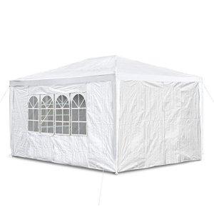 JOM 127292 Barnum de jardin, 3 x 4 m, avec 4 parois latérales, 3 fenêtres et 1 porte avec fermeture éclair, PE 100G, blanc