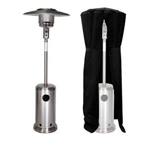 Parasol chauffant OSLO – chauffage d'extérieur gaz acier inox + housse
