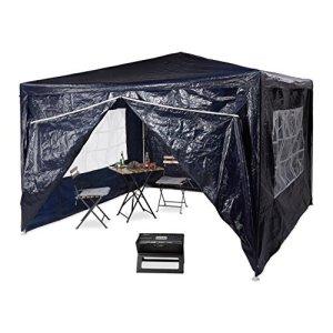 Relaxdays Tonnelle pergola 3×3 m , 4 côtés cadre métal PE tente de jardin fermée pavillon chapiteau, bleu