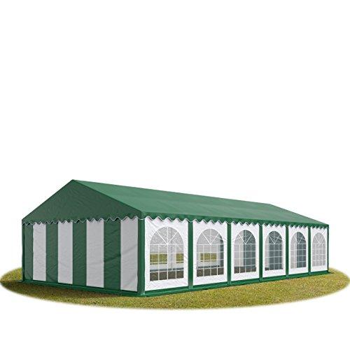 Tente Barnum de Réception 6×12 m PREMIUM Bâches Amovibles PVC 500 g/m² vert-blanc + Cadre de Sol Jardin INTENT24