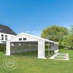 TOOLPORT Tente de réception 5×10 m tente de jardin blanc bâche PE 300 g/m² imperméable résistante aux UV AVEC CADRE DE SOL