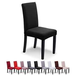 SaintderG™ Housse de chaise 6 pièces Housse de protection élastique moderne, Housse de salle à manger pour un ajustement universel, Lycra étirable, très facile à nettoyer et durable, Bouquet, Hôtel, Décor de restaurant (Noir, 6 pièces)