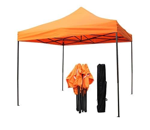 Tonnelles toutes saisons, choix de couleurs, 3x3m robuste, entièrement imperméable, en PVC enduit, Tonnelle Premium Pop Up, + sac de transport sur roues et 4 sacs de poids pour les pieds. (Orange)