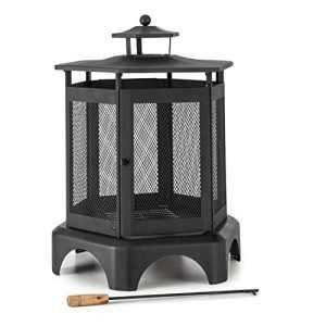 Blumfeldt Mandala Cheminée de Jardin (Bac à Cendres Amovible et Grille de Cendres pour Une Combustion Propre, Porte de cheminée verrouillable, tisonnier Inclus)