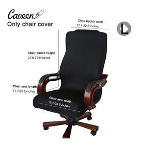 CAVEEN Housse de Chaise de Bureau Démontable Elastique Simplissime Style Housse pour Fauteuil de Bureau (Noir, L)