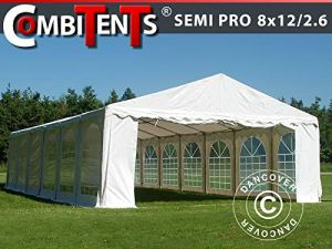 Dancover Tente de réception, Semi Pro Plus CombiTents® 8×12 (2,6) m 4-en-1, Blanc