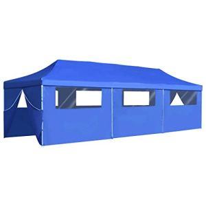 Festnight- Tente de Reception Tente de Jardin chapiteau Jardin Résistance aux UV et à l'eau en métal tonnelle Pliable 3×9 m Bleu