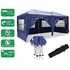 Pavillon 3mx6m, tente de pavillon pliable imperméable à l'eau, tente de pavillon pliante avec 4 côtés pour jardin / fête / mariage / pique-nique / marché (bleu)