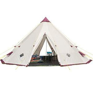 Skandika Tipii 301 – Tente tipi indien 12 personnes – Hauteur 3m Diamètre 5m50 – Beige-Bordeaux