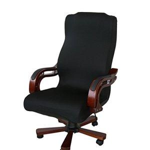 Tissu élastique amovible Housse de chaise extensible rotatif Resilient Slipcover pour chaise Fauteuil de bureau Fauteuil (Housse uniquement, pas de chaises), Tissu, Noir, Taille L