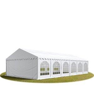 TOOLPORT Tente Barnum de Réception 6×12 m Bâches PVC 500 g/m² Blanc Cadre de Sol Jardin
