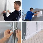 TOOLPORT Tente de Stockage Industriel Hangar 6×12 m à 4 mètres de Hauteur de côté avec bâches en PVC Gris de 550 g/m² 100% imperméable avec Porte zippée