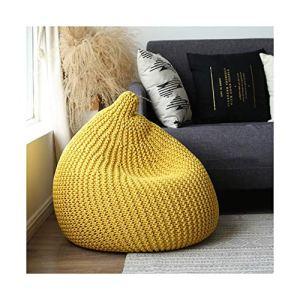 ZHNA Amovible et Facile à déplacer, Pas d'espace, Tissage créatif, Sac de fèves Paresseux, canapé, canapé Simple (Color : Yellow)
