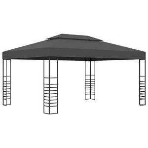 vidaXL Tonnelle Belvédère Chapiteau de Jardin Tente de Réception de Patio Pavillon d'Extérieur Terrasse Pique-Nique 3×4 m Anthracite