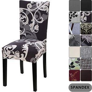 Housse de chaise de maison Yisun – Style moderne – En Spandex – Housses pour chaise haute – 4 à 6 housses, Black + Flower Parttern, Lot de 4