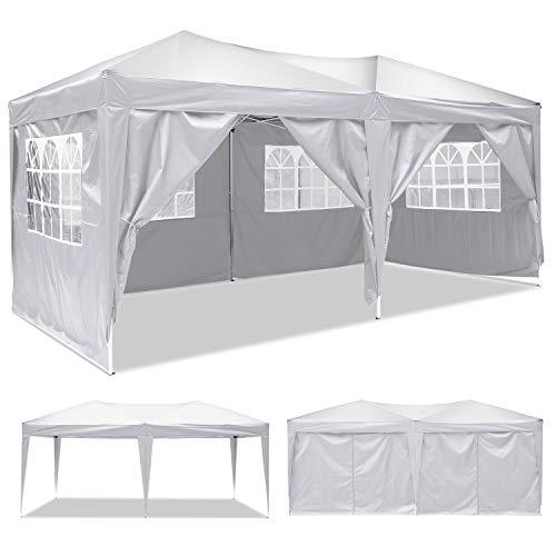 Tonnelle de Jardin Tente Gazebo Pavillon Auvent Pliable et résistant à l'Eau 3×3 m/ 3×6 m avec Panneaux Latéraux + Sac de Transport (Blanc-3×6 m)