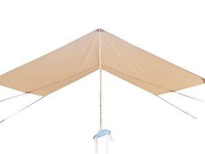 Safari Camping 100% Toile de Coton Tente de Bell avec Fermeture Éclair en Tapis de Sol étanche (Front Shelter, 4x3m)