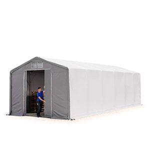 TOOLPORT Tente de Stockage 6x12m, Hangar, Tente Industrielle, 3m Hauteur de côté, avec Porte coulissante, PVC de 550g/m² imperméable, Gris