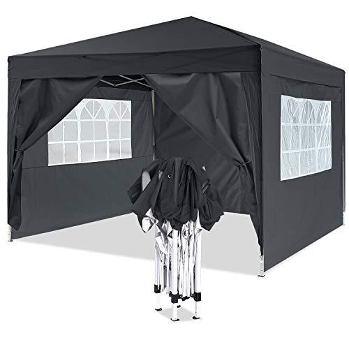 Bunao Gazebo/Tonnelle de Jardin Tente de réception 3x3m pavillon imperméable Tente Pliante de Jardin (Noir2)