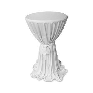 Casa Colori Housse de Table élégante de Haute qualité avec nœud Blanc Ø 60 ou Ø 80 cm, Microfibre, Weiß, 80cm rund