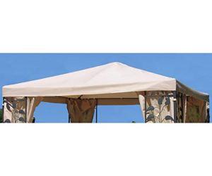 Grasekamp 48163 Toit de Rechange Universel pour tonnelle Motif Feuilles de Sable Beige 3 x 3 m