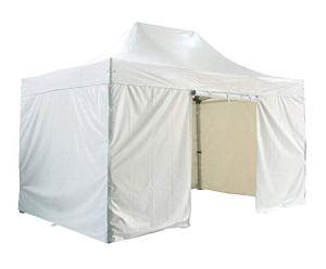 GREADEN Barnum pliante 3×4.5m 50mm en aluminium premium PRO 520Gr/m2 avec pack 4 murs amovibles – blanche – tente pliante – GR-1FCM345520P1