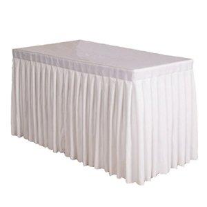 Homyl Jupe Tissu Housse De Table De Banquet En Polyester Festive Banquet De Mariage Maison – blanc