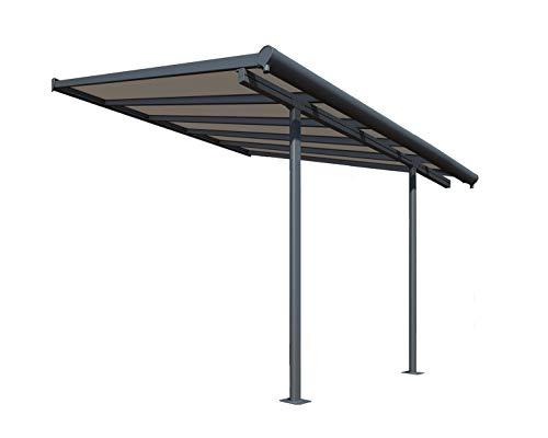 Palram Capri Pergola Adossée Aluminium Et Polycarbonate 3×3, pour Couvrir Une Terrasse Toute L'année – Garantie 7 Ans (9.1m², Gris Bronze)