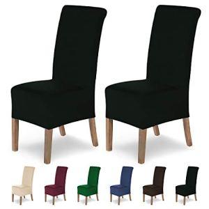 SCHEFFLER-HOME Housses de chaises Lena 2 pièces, Couverture Spandex, revêtement de Chaise, Housses élastiques, Couvre-chaises Modernes, Universel, avec Une Hauteur d'assise 20-24cm – Noir