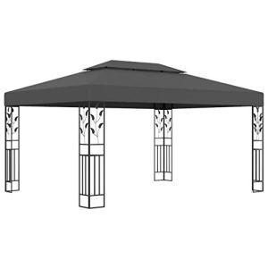 vidaXL Tonnelle avec Double Toit Belvédère Chapiteau de Jardin Tente de Réception de Patio Pavillon d'Extérieur Terrasse Pique-Nique 3×4 m Anthracite