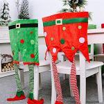 2pc Chaise de Noël Housses de Chaises Décoration de Noël Dîner Table Party Decor Confortable Douce