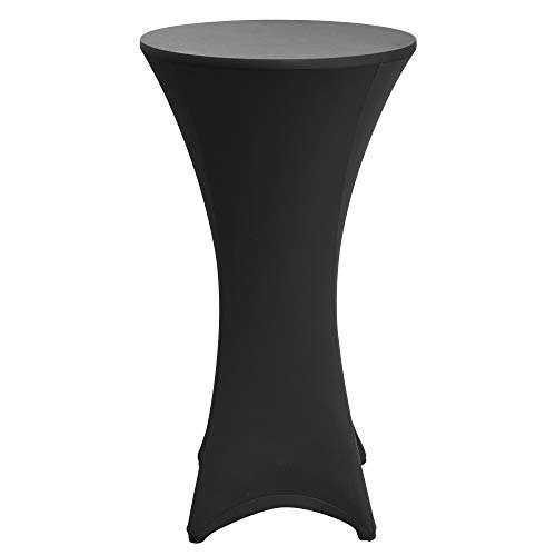 Beautissu Housse de Table de bistrot – Mange Debout – Deco Cocktail – Stretch Spandex – Stella – 60-65cm – Noir
