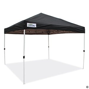 Goutime Pop Up Gazebo 3x3m Garden Canopy Waterproof Camping Marquee with Portable Wheeled Carry Bag (Black)
