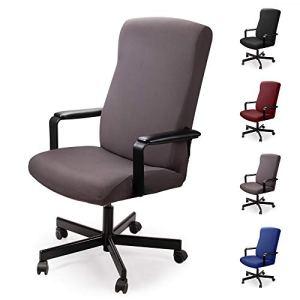 Housse pour Chaise de Bureau Housse de fauteuil rotatif Housse Tissu élastique amovible Housse de chaise extensible Slipcover Chair Cover Protector pour Chaise De Bureau Accoudoirs Chaise (Gris, M)