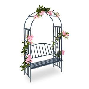 Relaxdays Arche à roses pour jardin avec banc 2 métal en métal arceau colonne décoration HxlxP: 205 x 115 x 50 cm, gris