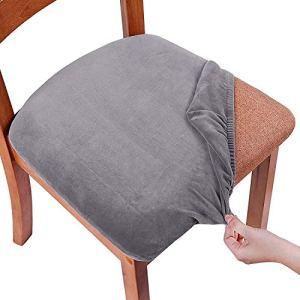 Smiry Housses de siège extensibles pour salle à manger, housse de chaise en velours rembourrée pour chaise de salle à manger, housses de chaise amovibles et lavables avec attaches, gris, Set of 4